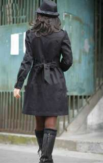 New Fashion Womens Ladies Slim Fit Trench Double Breasted Coat Jacket
