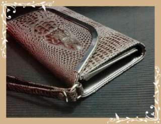IP001   Brown Crocodile Faux Leather IPhone Case Purse Wallet & Clutch