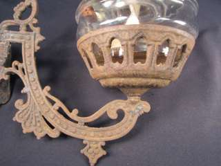 FAB Antique Ornate Cast Iron Victorian Wall Oil Kerosene Lamp Holder