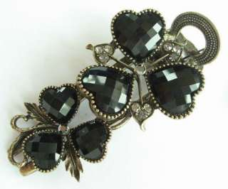VARY COLORS SWAROVSKI CRYSTAL VINTAGE BRONZE HEART FLOWER HAIR
