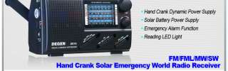 DEGEN DE16 FM/FML/MW/SW Solar Power World Band Portable Radio Receiver