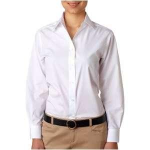 Womens Long Sleeve Dress Shirt, White, Medium