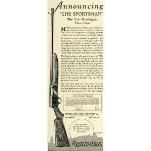 1930 Ad Remington Arms Sportsman Three Shot Hunt Rifle   Original