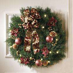Holiday Prelit Lighted Decorated Battery Operated CHRISTMAS WREATH NeW
