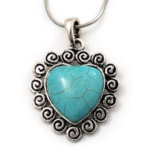 Turquoise Style Heart Pendant Necklace In Silver Tone Metal   40cm