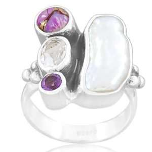 925 Sterling Silver Freshwater Pearl Purple Turquoise Crystal Amethyst