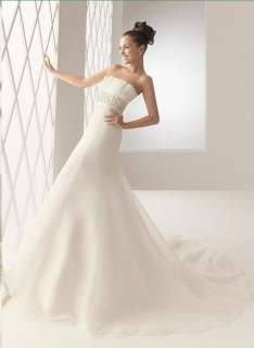 Strapless A line White/Ivory Organza Wedding Dress Bridal Gown Size