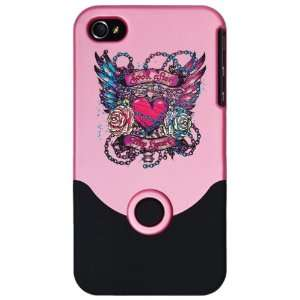 4S Slider Case Pink Look After My Heart Roses Chains and Angel Wings