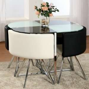 Delta Two Tone 5 Piece Dining Set Color Black PU