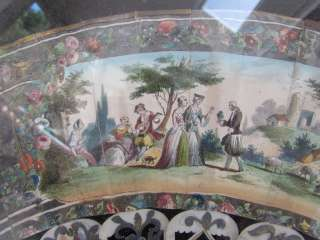 SUPERB 1840s Hand Painted Litho Ox Bone Fan of Lovers
