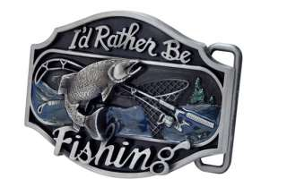 Rather be Fishing Metal Belt Buckle Redneck Western Sport Bass