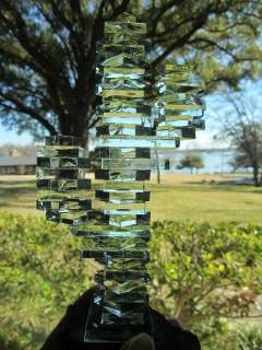 Unusual Vintage Stacked Bottle Green Crystal Glass CACTUS Granite Base