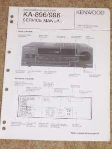 Kenwood KA 896/996 Amplifier Service Manual Parts List