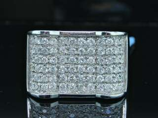 14K MENS 1.75C WHITE GOLD SOLID DIAMOND PINKY RING PAVE