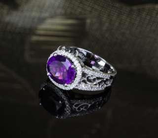 Dark Purple AMETHYST .45ct DIAMOND 14K WHITE GOLD Engagement Wedding