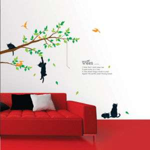 Tree with Cat Adhesive Art Wall STICKER Removable Decal