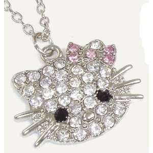 Hello Kitty Pink Bow Necklace w/Sparkling Crystals