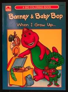 BARNEY & BABY BOP WHEN I GROW UP COLORING BOOK   UNUSED