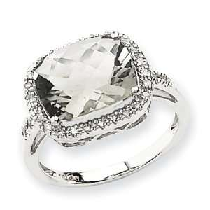 14K White Gold Green Quartz & Diamond Cushion Cut Ring Diamond quality