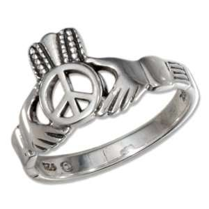 Sterling Silver Peace Symbol Heart in Hands Ring (size 09). Jewelry
