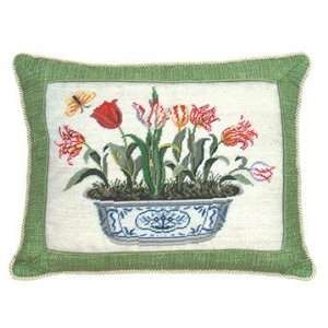 Inch Tulip in Pot Petit Point Pillow with Trimming