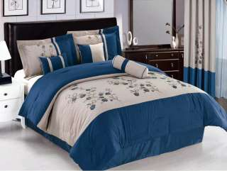 New RETRO Blue Off White Gray Vine Bedding Comforter set  Full Queen