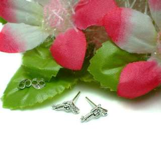 925 STERLING SILVER PISTOL GUN STUD EARRINGS