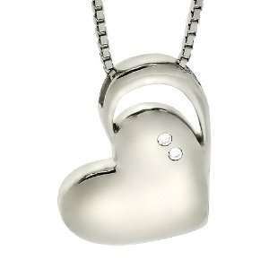 Sterling Silver and Diamond Heart Necklace Jewelry