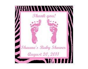 Pink Feet Girl Zebra Print Personalized Baby Shower Thank You Magnet