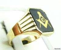 Crisp Masonic Square & Compass Onyx Classic Masons Ring   10k Solid