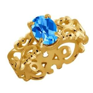 60 Ct Checkerboard Swiss Blue Topaz 18k Yellow Gold Ring Jewelry
