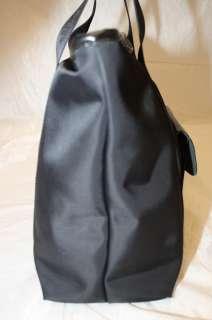 LONGCHAMP BLACK NYLON LOGO STRIPE W/ LEATHER SHOPPER TOTE BAG HANDBAG