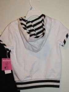 KITTY Glittery White Hoodie Jacket & Black Pants Outfit Sz 5, 6