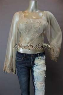 New with Tags FREE PEOPLE Champagne Show Pony Beaded Net Crop Shirt