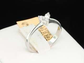 18K WOMENS WHITE GOLD 0.19 CT DIAMOND HEART LOVE SHAPED ENGAGEMENT
