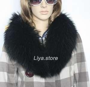 type new fashion womens real genuine black raccoon fur collar scarf