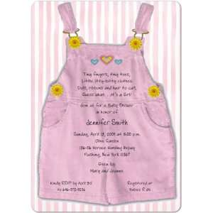 Pink Overalls Magnet Small Baby Shower Invitations