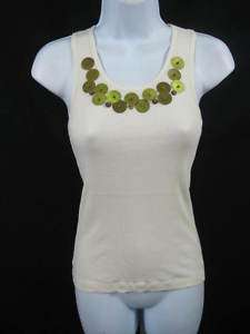 SCOOP NYC Cream Bronze Sequin Tank Shirt Top SZ OS