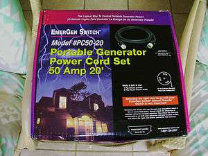 EMERGEN 50AMP 20 FOOT GENERATOR POWER CORD SET READY TO GO 12,500
