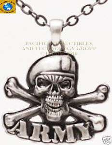 MILITARY ARMY SKULL CROSS BONES NECKLACE JEWELRY COOL