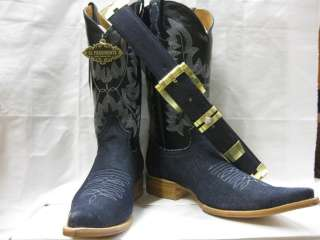 FANCY BLUE JEANS ROCK STAR COWBOY BOOTS WESTERN SHOES BIKER HARLEY