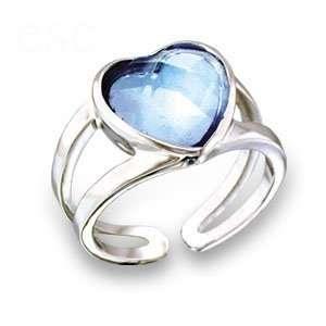 Jewelry   Heart Aquamarine Swarovski Crystal Ring SZ 8 Jewelry