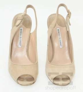 Manolo Blahnik Tan Suede Peep Toe Slingback Heels Size 38