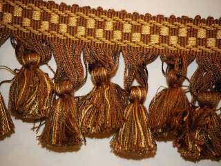 Decorative Tassel Fringe Trim Brown Bronze Cream 3W