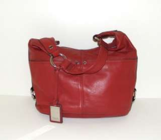 NEW TIGNANELLO RED LEATHER POLISHED POCKETS HOBO TOTE BAG