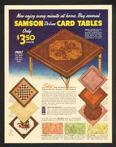 1942 Samson DeLuxe Card Tables Vtg. Furniture Print Ad