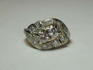 ART DECO 1930S RETRO ANTIQUE 14K WHITE GOLD 1ct DIAMOND RING UNIQUE