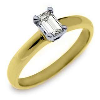 SOLITAIRE EMERALD SHAPE CUT DIAMOND ENGAGEMENT RING YELLOW GOLD
