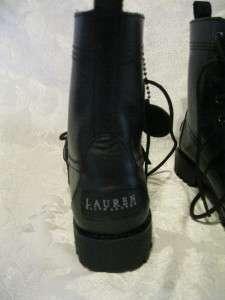 NEW Polo Ralph Lauren ZERA Black Leather Womens Boot 5B