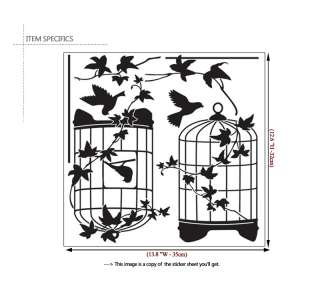 BLACK BIRDCAGE ★ Mural Art Graphic Wall Sticker Decal